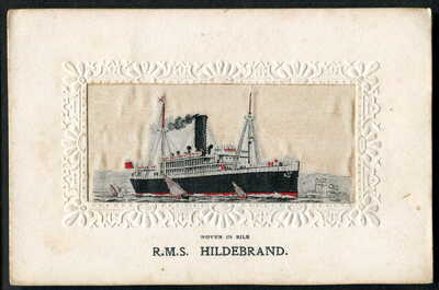 "RMS ""HILDEBRAND"" Booth Line (A/M Cruiser, WW1). STEVENGRAPH Woven Silk. c1911"