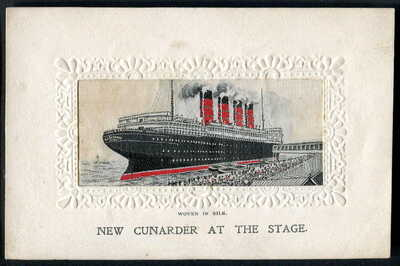 """LUSITANIA""/""MAURETANIA"" Cunard. At Landing Stage. STEVENGRAPH Woven Silk c1907"