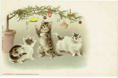 HELENA MAGUIRE ARTIST DRAWN OLD POSTCARD ANTHROPOMORPHIC CATS CHRISTMAS TREE