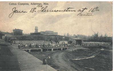 1916 Ackerman, Mississippi  postcard - Coton Compress