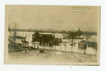 Postcard, Wabash River flood 1913, Lafayette, IN, Tippecanoe County