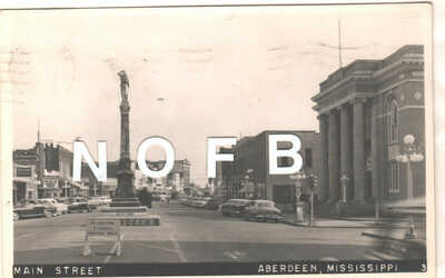 1956 Real Photo Postcard - Main St. Aberdeen, Mississippi - Confederate Monument