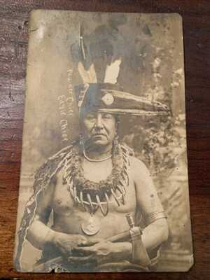1909 RPPC Of Native American Chief Eagle Chief Used Postcard OK DPO Roanoke WV