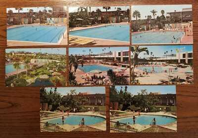 Disneyland Postcards; DL Hotel Pools; 8 different postcards; vintage Disney