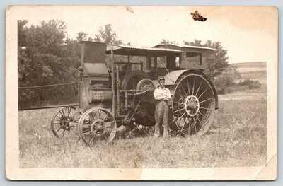 Real Photo Postcard~International Harvester Steam Tractor Close Up~Farmer~c1915