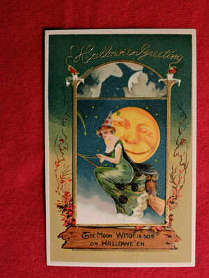 Rare Winsch Embossed Halloween Postcard Series Number 4974 Great Shape