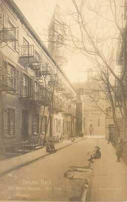 Patchin Place, Greenwich Village, New York City RPPC - Jessie Tarbox Beals photo