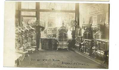 Early 1900's Unique Stove room Bodell and Howell Waynesfield  Ohio  RPPC