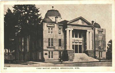 c. 1920's Brookhaven, Mississippi - First Baptist Church