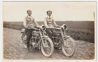 HARLEY DAVIDSON MOTORCYCLE COMPANY PROMOTIONAL RIDERS READ PHOTO AZO CIRCA 1912