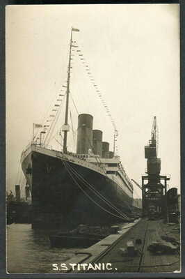 """""""TITANIC"""" in the White Star Dock, Southampton. After arrival on 4 April 1912 RP"""