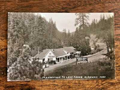 1930s White Hall Hotel RPPC Placerville Lake Tahoe Highway Quaint