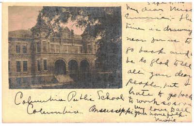 1906 Columbia, Mississippi  - Public School - Real Photo Postcard