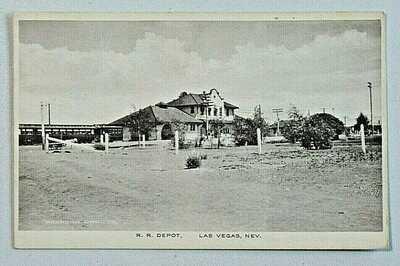 R.R. Depot Las Vegas Nevada Railroad Vintage Albertype DB Postcard 9152
