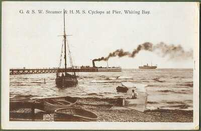 HMS Cyclops, G & S.W. Steamer at Whiting Bay Pier. P/used Whiting Bay pmk 1916.