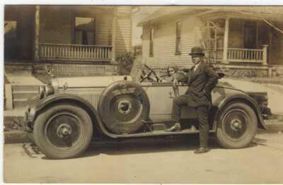 RPPC Real Photo Postcard Black Gentleman Poses by Fancy Auto Terre Haute Indiana