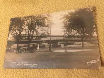 1920s RPPC Frank Lloyd Wright's HOTEL GENEVA Wisconsin - Great Photo Postcard!
