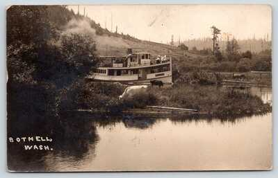 Bothell Seattle WA~Excursion Steamer May Blossom Passes Cow in River~1909 RPPC