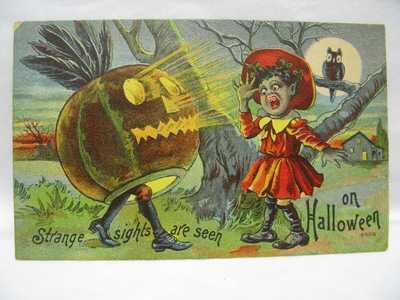 Black Americana Halloween Postcard Owl JOL Scares GirlEX