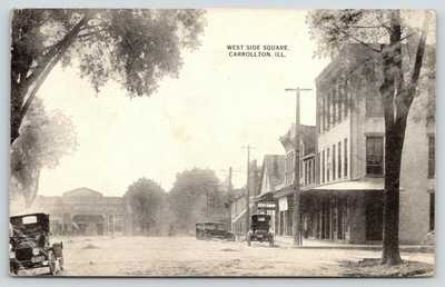 Carrollton Illinois~Vintage Autos on West Side Square~Dirt Road~c1916 B&W PC