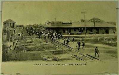 PRE1906 UNDIVIDED BACK THE UNION TRAIN STATION DEPOT, GULFPORT, MISS.