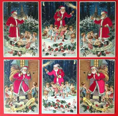 ~Lot of 6 Antique~SILK SANTA Claus~with Angels~Children~Postcards~~Beautiful~Set