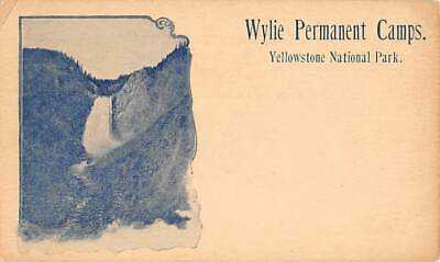 YELLOWSTONE PARK, WY, WATER FALL, WYLIE CAMPS ADV ON GOV'T POSTAL CARD c 1898