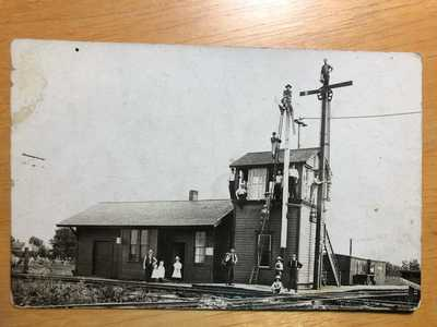 RPPC-Mode IL-Railroad Station-Train Depot-Cloverleaf-Illinois-Ill-RR-Real Photo