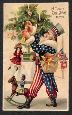 RARE Christmas Uncle Sam Santa Claus Trimming The Tree Toys Postcard