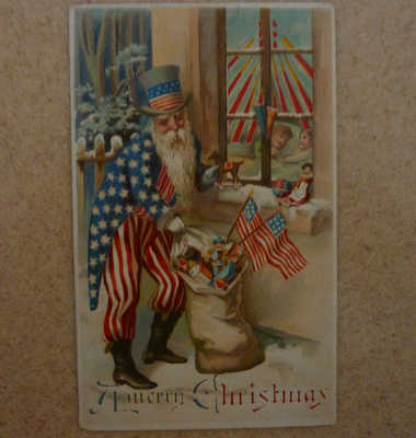 Very Rare Antique Patriotic Uncle Sam Hold-To-Light Santa Clause Postcard