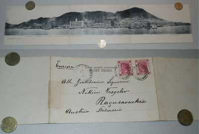 1900' HONG KONG Three-part PANORAMA POSTCARD used (Ragusavechia-Cavtat Europa)