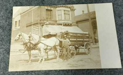 RPPC Postcard L.M. Pierron's Pottery Delivery Horse & Wagon MILWAUKEE WISCONSIN