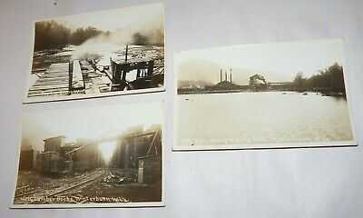 3 Real Photo Post Cards, RPPC, W. Virginia Lumber Mills, 1891, Geo. Craig & Sons
