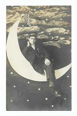 NICE! c1915 PAPER MOON RPPC FLAG, TROLLEY CONDUCTOR IN OUTFIT,Lynn Massachusetts