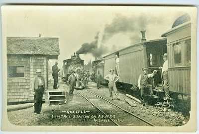 Au Sable MI Railroaders at the AuSable Central Station RPPC by Bradshaw