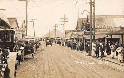 WATCH HILL, RI, BAY ST, PC STUDIO, STORES & SIGNS, PEOPLE, BISHOP RPPC c 1910-20