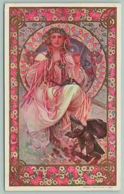 "Mucha~""Slavia""~Josephine Crane Bradley~Art Nouveau Lovely Lady~Czech Note~1909"