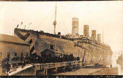 RMS OLYMPIC AS WW ONE MILITARY SHIP AT DOCK IN HALIFAX, CANADA, RPPC dated 1918