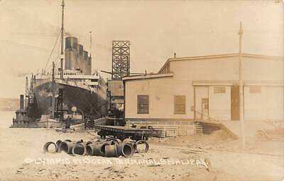 RMS OLYMPIC AT TERMINAL FOR OCEAN LINERS IN HALIFAX, N.S. CANADA, RPPC c 1920's