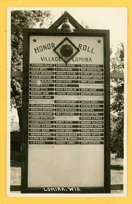 Lomira Wisconsin - Military Patriotic WW2 Honor Roll of Soldiers RPPC