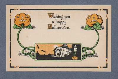 Vintage Halloween Postcard, Fairman Pink Perfection-Haunted House-Jack O'Lantern