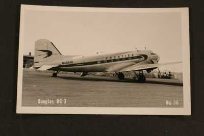 1950+ RPPC REAL PHOTO POSTCARD DOUGLAS DC-3 FRONTIER AIR PLANE AT AIRPORT KODAK