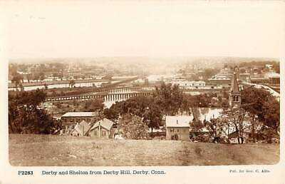 DERBY & SHELTON, CT, OVERVIEW OF TOWNS FROM HILL, UNDERWOOD RPPC c 1910-12