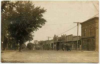 1913 RPPC Main Street Mahomet, Illinois Postcard Champaign County - C.R. Childs