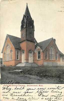 G77/ Brookhaven  Mississippi Postcard c1907 First Methodist Church