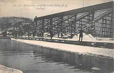 CONGERS, ROCKLAND COUNTY, NY, 3 PC's, WORKERS HARVESTING ICE FROM LAKE used 1906