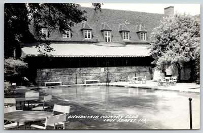 Lake Forest IL Patio Seating Around Swimming Pool @ Onwentsia Country Club RPPC