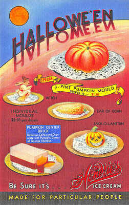 Milton MA Hendrie's Ice Cream Witch J-O-L Halloween Curt Teich Linen Postcard