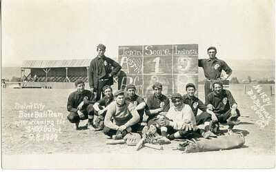 Original Prairie City Oregon OR Baseball Team: Bruno Bakowski 1584 RPPC - 1909