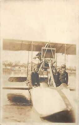 G99/ St Petersburg Florida RPPC Postcard 1921 Water Airplane Pilot Crew